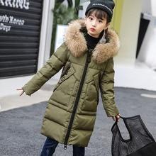 Girls Duck Down Outerwear Coats 2018 New Winter Children Warm Thickening Fur Collar Hooded Jacket -30 Degrees 6 8 10 12 14 Years