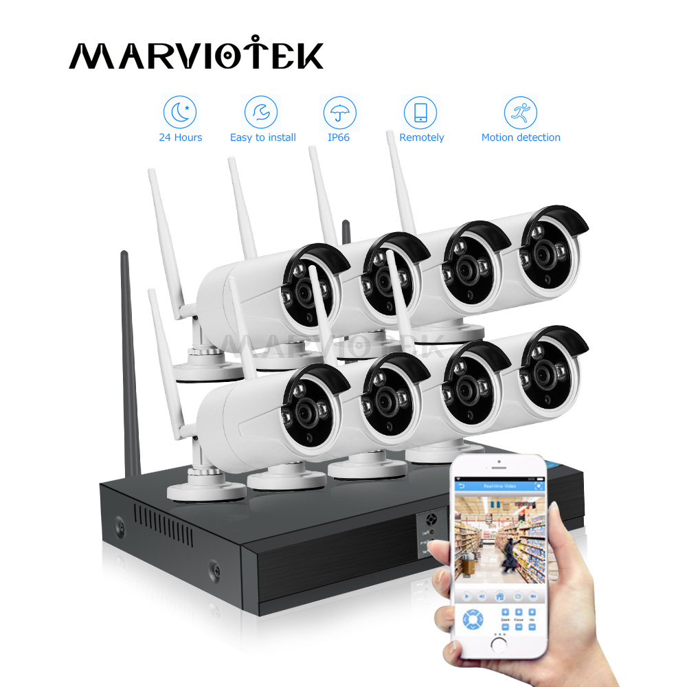 4CH Wireless Home Security Camera System Outdoor IP Camera Wifi DVR Kit CCTV Camera System 1080P Video Surveillance Weatherproof
