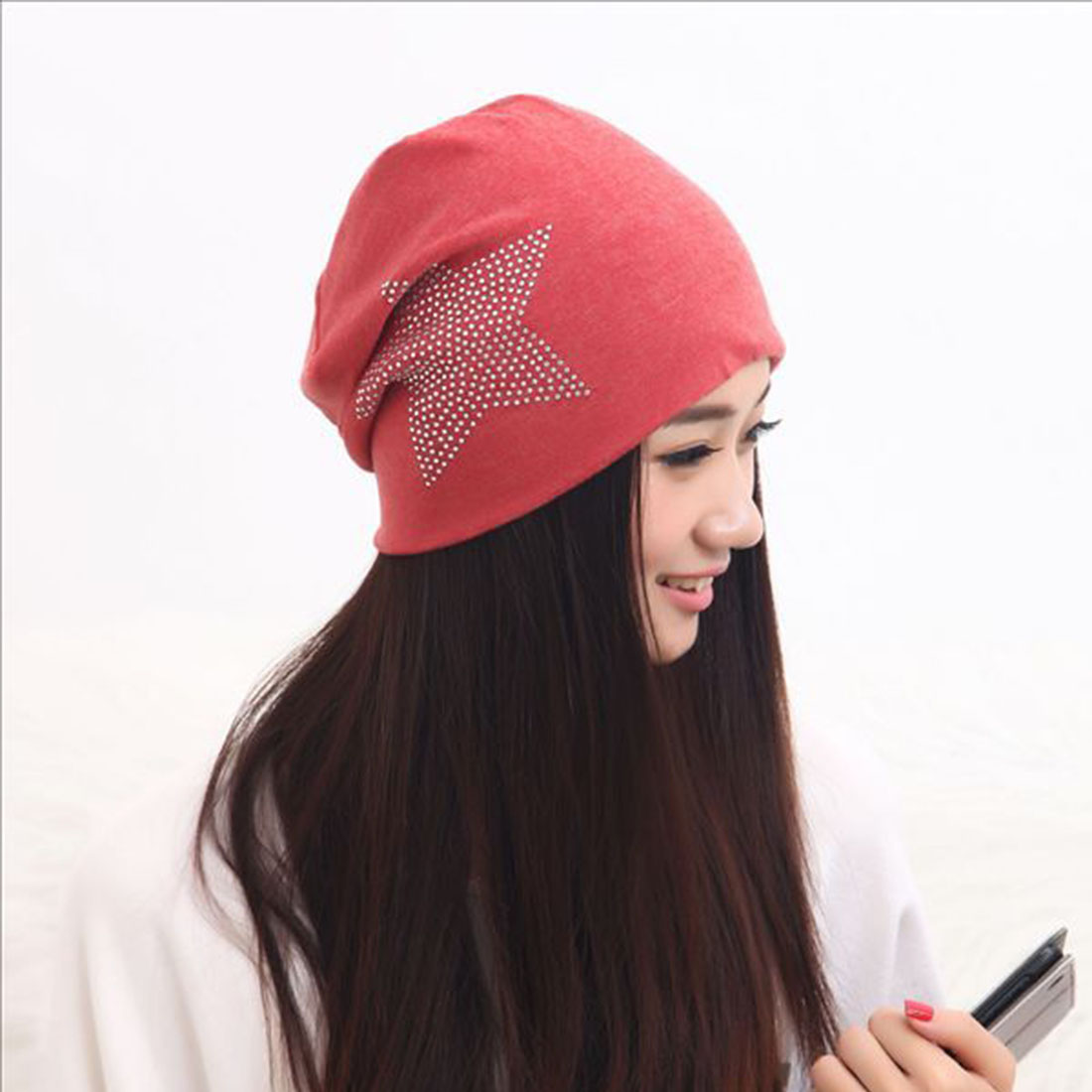 2017 Classic Style Fashion New Knit Baggy Beanie Hat with Star Female Warm Winter Hats for Girls Women Beanies Bonnet Head Cap цены онлайн