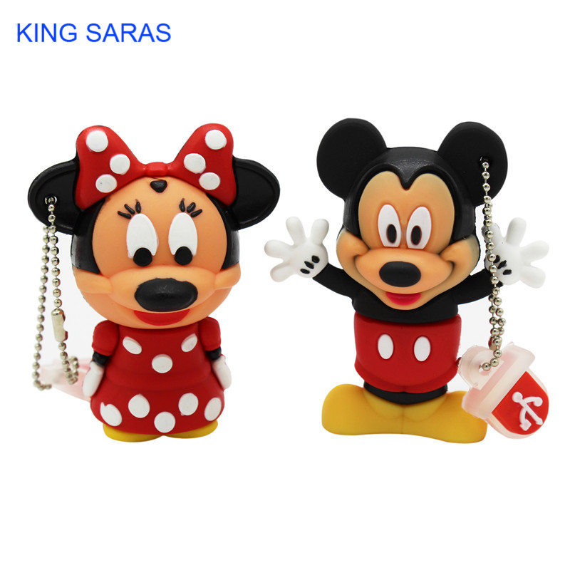 KING SARAS Cartoon 4GB Mickey Minnie 2 Style Usb Flash Drive Usb 2.0  8GB 16GB 32GB 64GB Pendrive Gift U Disk