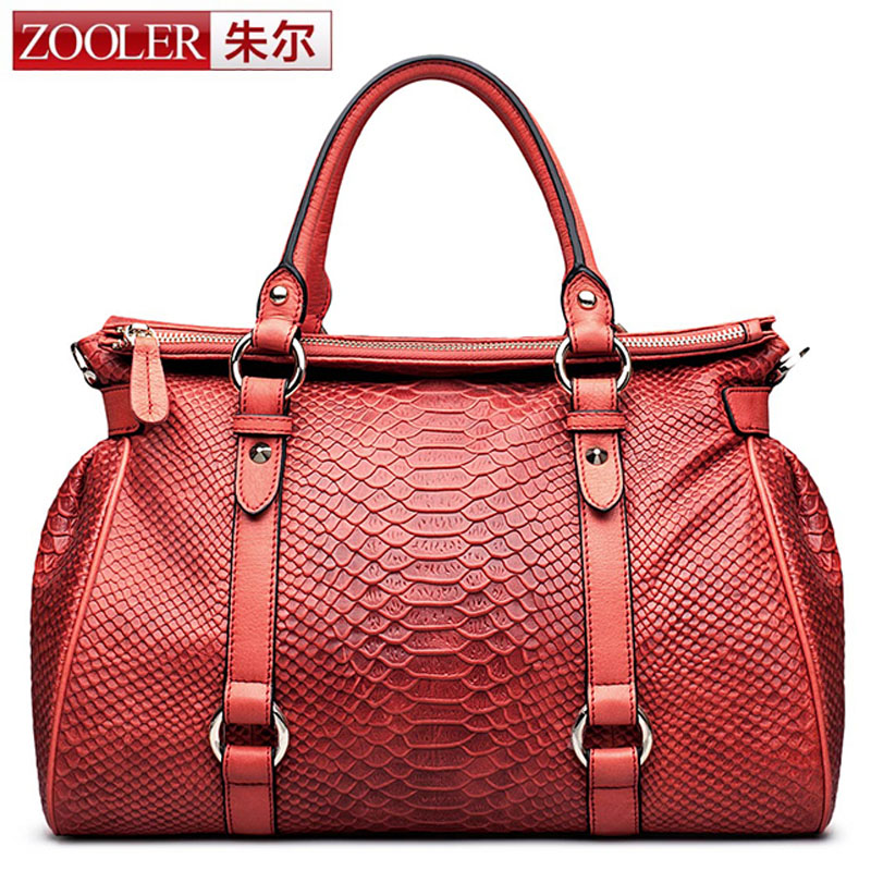 ZOOLER Genuine Leather Handbags Women's Snake Famous Brands Fashion Purse High Quality Women Messenger Big Bags Tote Boston Bag new trend 2016 zooler women genuine leather messenger bags vintage crossbody bag bags handbags women famous brands high quality