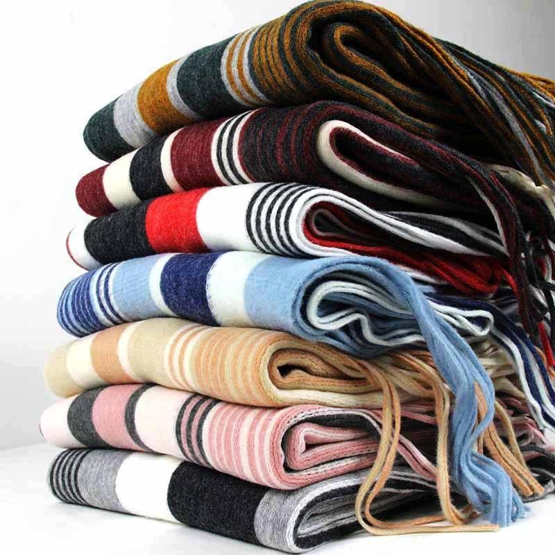 FOLOBE 2019 Women Winter Warm Scarf Brand Striped Print Blanket Shawl Scraf Long Scarves Wraps with Tassel  Plaid knitted scarf