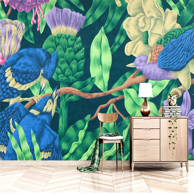 Hand Painted Wallpapers 3D Custom Photo Murals Southeast Asia Tree Flowers Birds 3D Walls Papers for Living Room TV Home Decor женские воротнички и галстуки  000