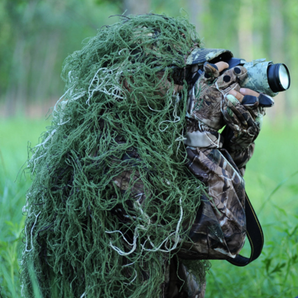 216518445455e Woodland Ghillie Netting 80x90cm Camouflage Netting for Ghillie Suit Sniper  Kits for Wargame Airsoft Hunting