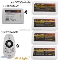 MiLight Warm White \/ Cold White Dual White LED Strip 4-Zone CCT Controller DC12V 24V 10A 2.4G Wireless Remote WiFi Compatible