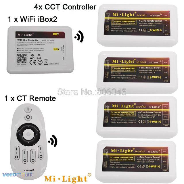 MiLight Warm White / Cold White Dual White LED Strip 4-Zone CCT Controller DC12V 24V 10A 2.4G Wireless Remote WiFi Compatible