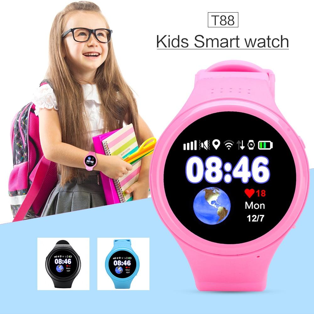 T88 Bluetooth Kids font b Smartwatch b font Phone Smart Baby Watch Round Screen MTK2503 2G