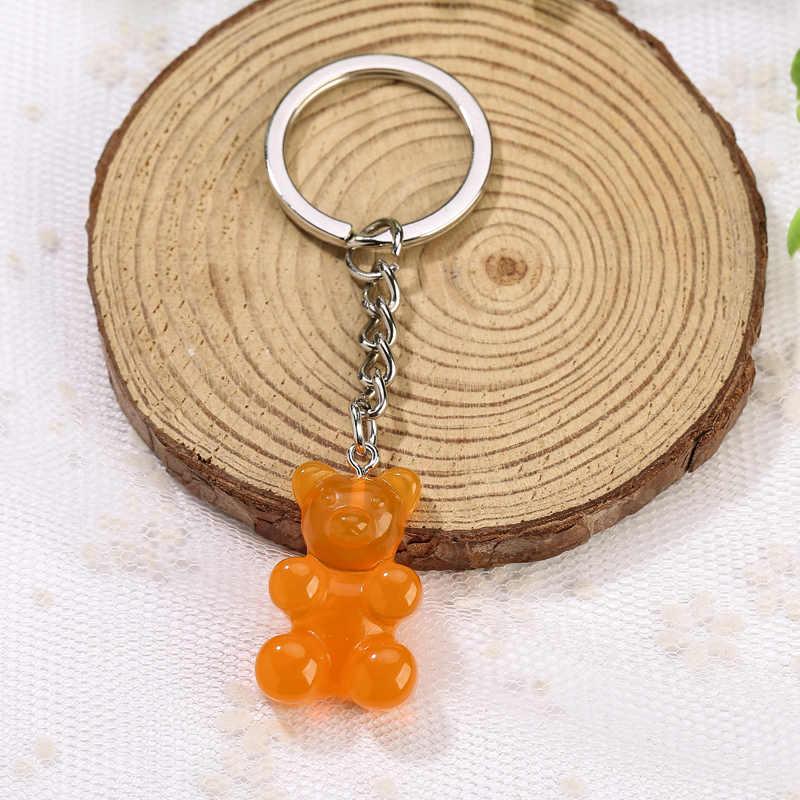1 PC เรซิ่นพวงกุญแจจี้ Flatback Glitter Gummy หมีที่มีสีสันรถกระเป๋าถือพวงกุญแจ