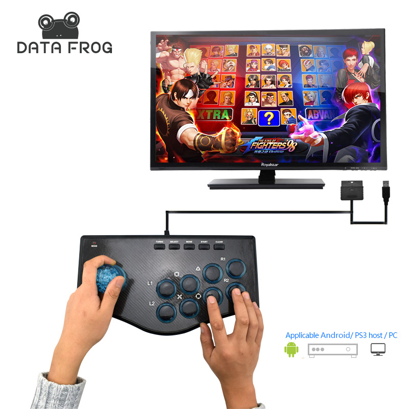 Data Frog Arcade Joystick USB Game Joysticks For PC Compatible For Android/PS3 Console Plug And Play Controller Free Shipping pxn 2113 hot pc usb flight joysticks vibration joystick rocker flighter simulator game controller