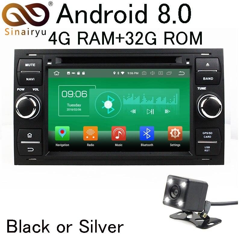 Sinairyu 4 г Оперативная память Android 8.0 автомобильный DVD для Ford Focus/Mondeo/C-MAX/Galaxy/Fiesta/ fusion/подключения Радио мультимедийный плеер головное устройство