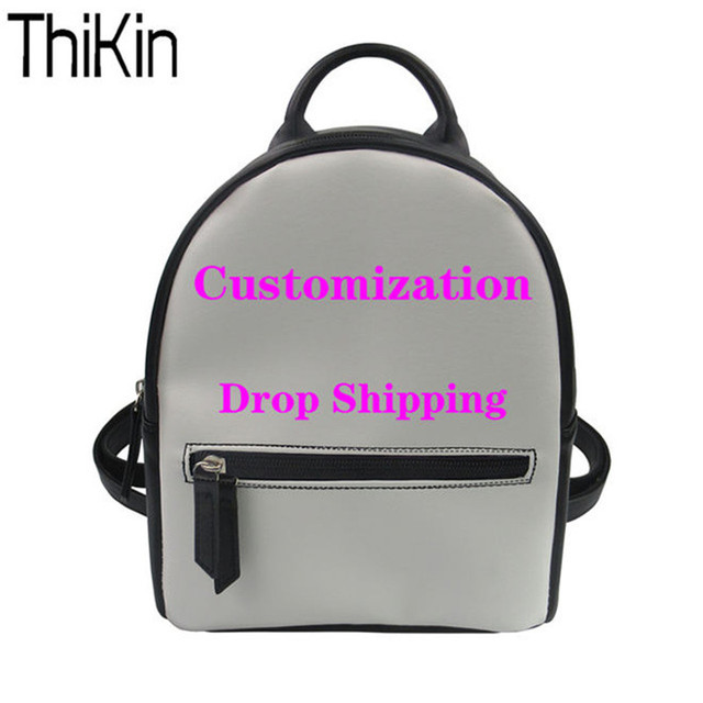 THIKIN Women Backpack PU Leather Backpacks Customized Backpack for Teenager Girls Fashion Bagpack Lady Mini Daypack Female Bolsa