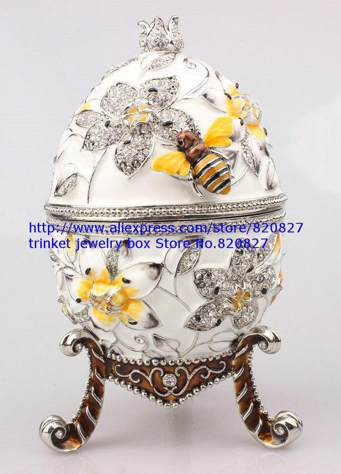 Faberge Egg Trinket Jewelry Box con una Perla sulla Parte Superiore per la Vendita-in Confezioni e espositori per gioielli da Gioielli e accessori su  Gruppo 3