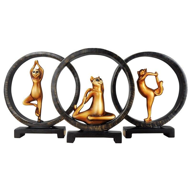 Style européen Kawaii Yoga chat Figurine fille rêve Art moderne Sculpture poupées résine artisanat Animal décoration de la maison R1454