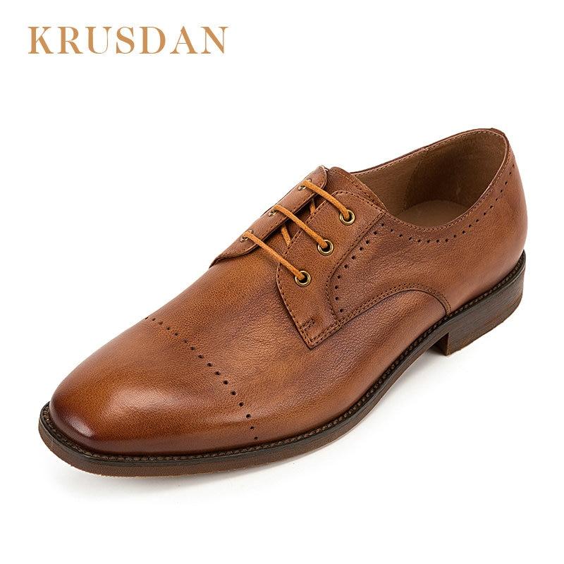 Schuhe Business Echtem up Oxford Entspannende Lace Hochwertige Krusdan Marke Brown coffee Männlich Mode Aus Lederne Schuh Männer Leder qxYxEw7Z