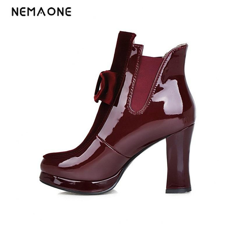 NEMAONE shoes 2017 new casual women fashion riding equestrian spike high heels ankle boots elegant platform round toe shoes цены онлайн