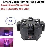 6X10 Вт RGBW 4IN1 светодио дный Smart перемещения луча фары DMX512 этапе стирка световые эффекты профессиональный DJ бар огни светодио дный этап машина