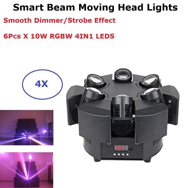 6X10W RGBW 4IN1 LED Smart Beam Moving Head Lights DMX512 Stage Wash Effect Lights Professional DJ Bar Lights LED Stage Machine