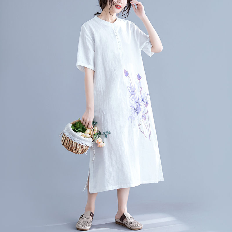 0147 Summer Floral Embroidery Vintage Dress For Women O neck Short Sleeve Side Split Dresses Ladies Casual Simple Loose Thin in Dresses from Women 39 s Clothing