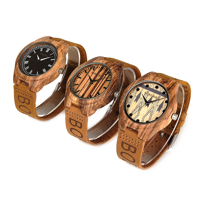 Bobo Bird Wo30 Classic Zebra Wooden Watch Quartz Watches