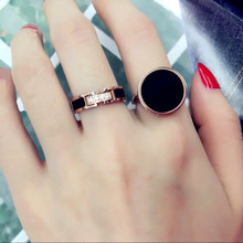YUN RUO New Arrival Luxyry CNC Zircon Crystal Inlay Black Ring for Woman 316L Stainless Steel Jewelry Rose Gold Color Never Fade