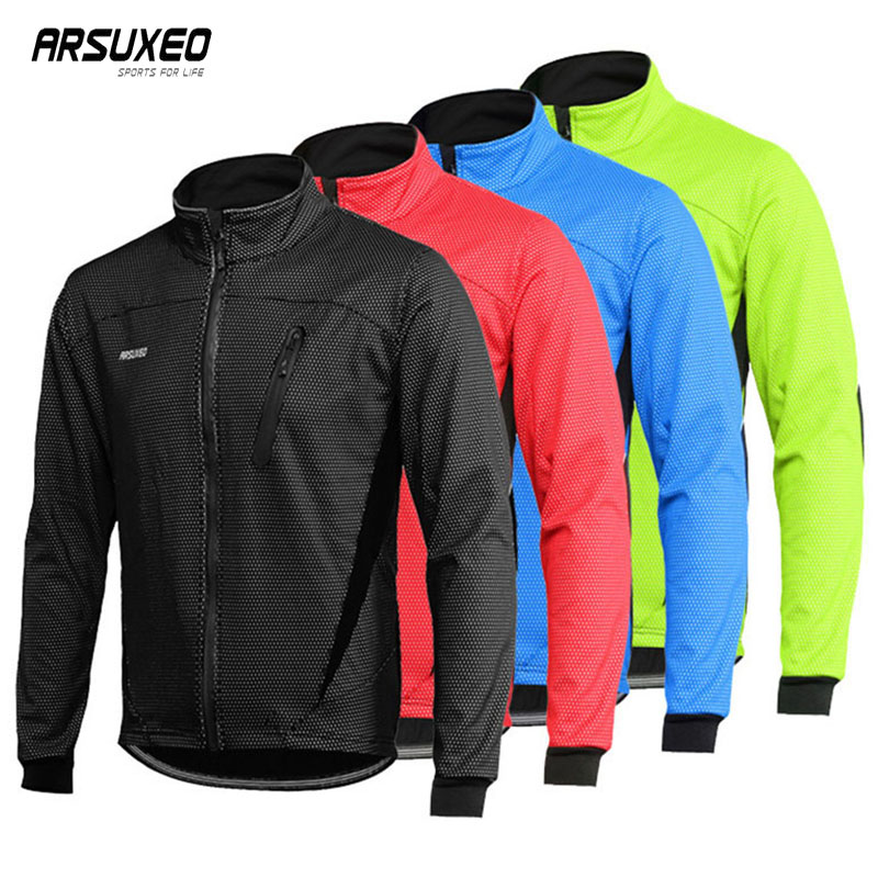 Arsuxeo Fleece Biking Jacket Man Winter Thermal Mountain Bike Jacket Waterproof Bicycle Coat Windproof Reflective Mtb Jacket