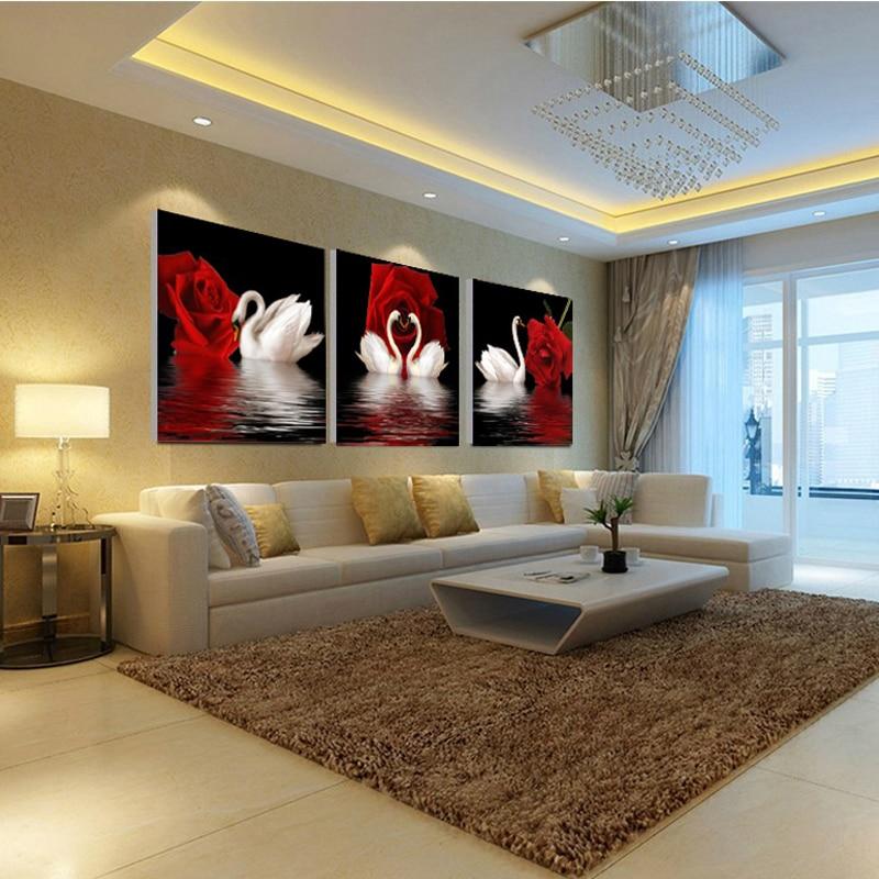 JHLJIAJUN 3 PCS Rose Swan Gambar Kanvas Lukisan Minyak Poster Ruang - Dekorasi rumah - Foto 2