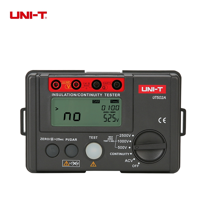 UNI-T UT502A  Insulation Resistance Tester High Voltage Insulation Tester Megger w/LCD Backlight Diagnostic-tools 2017 high quality original ut501b digital insulation resistance tester with lcd backlight earth tester megger free shipping