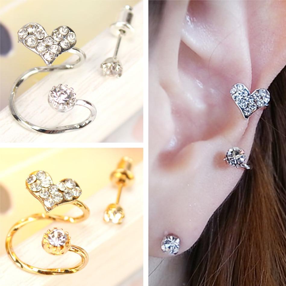 Es800 Full Charming Crystal Heart Clip Earrings For Women Love Fashion Ear  Jewelry Brincos 2017 New