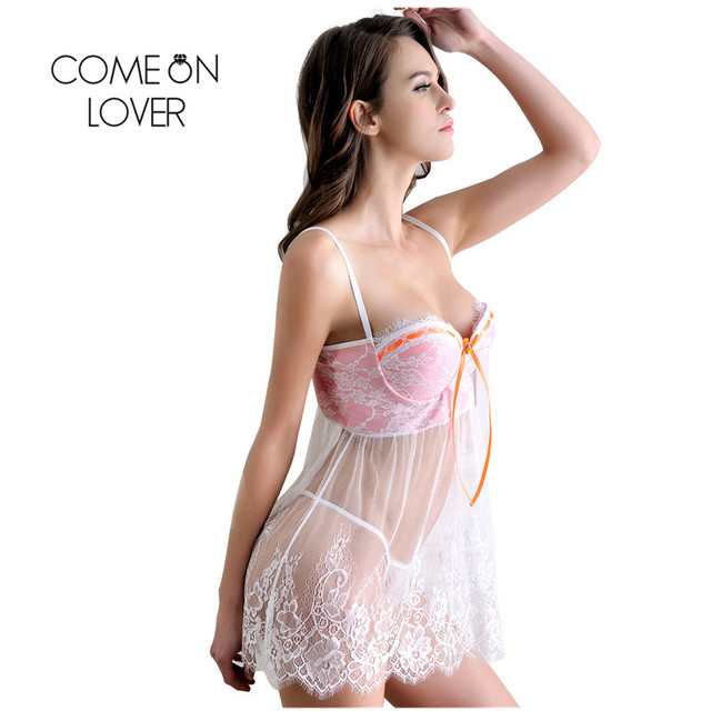 Comeonlover Intimo Donna Sexy Hot With Sheer Bodice And G-string Porno Sexy Lingerie Plus Size Baby doll Sexy Lingerie RI80046 3