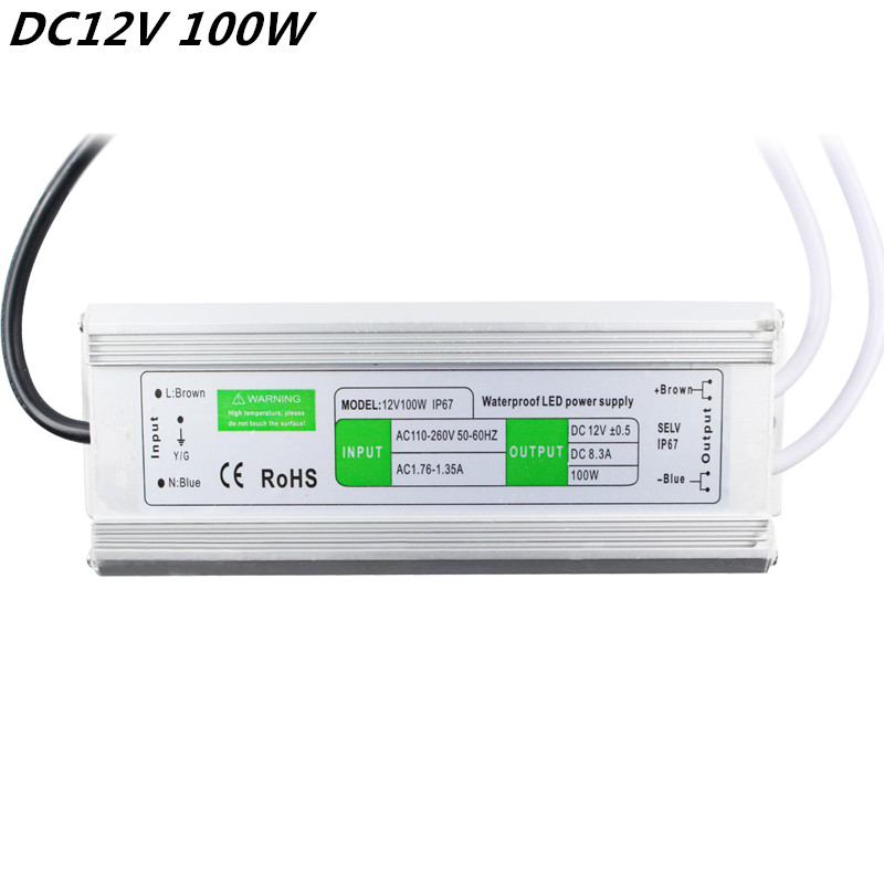 ФОТО Newest High efficiency 12V 100W Waterproof IP67 LED Driver Transformer Power Supply Electronic AC 110~260V For Outdoor Usage