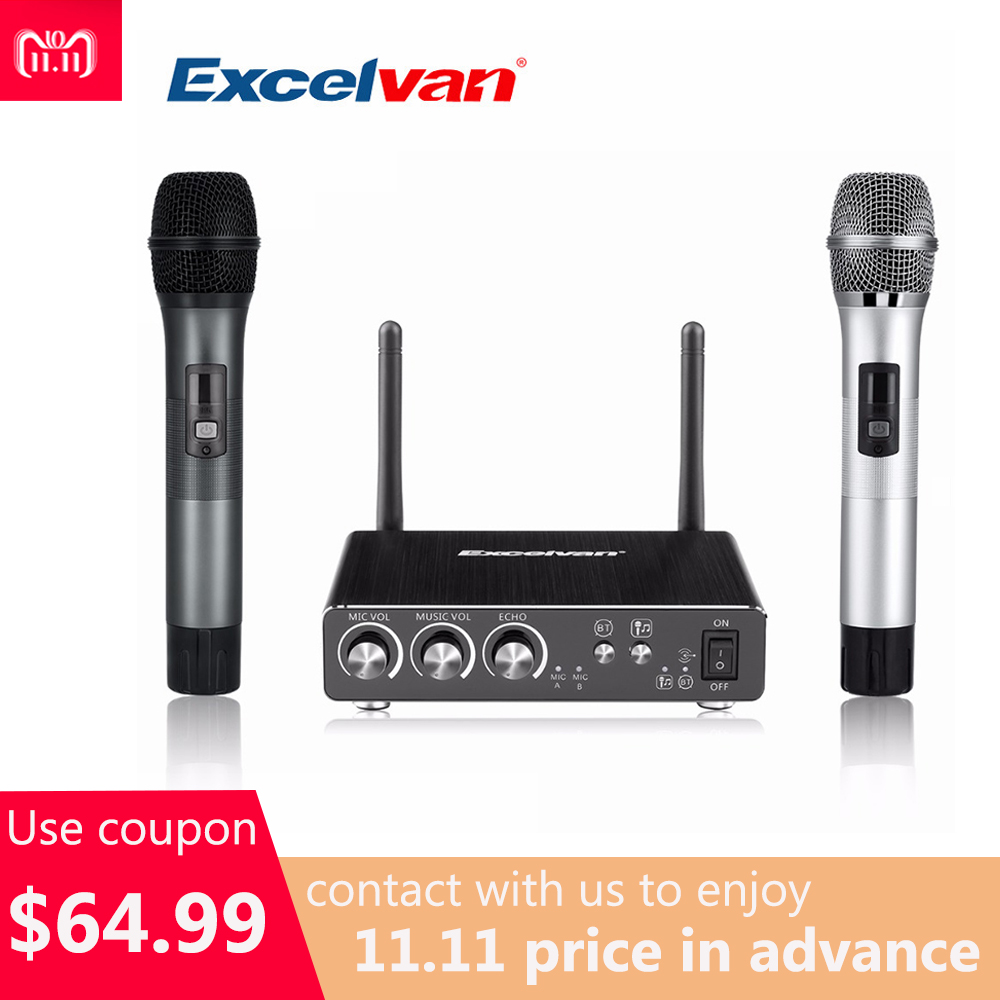 Excelvan K28 Wireless Dual Channel Microphone Adjustable Echo Volume Digital Low Distortion For Home Entertainment Conference excelvan k38 dual wireless microphones with receiver box various frequency high end microphonfor home entertainment conference