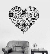 Calcomanía de vinilo para pared reloj tiempo amor Steampunk habitación relojero Etiqueta de Arte Estudio habitación dormitorio decoración del hogar adhesivo artístico de pared YD15
