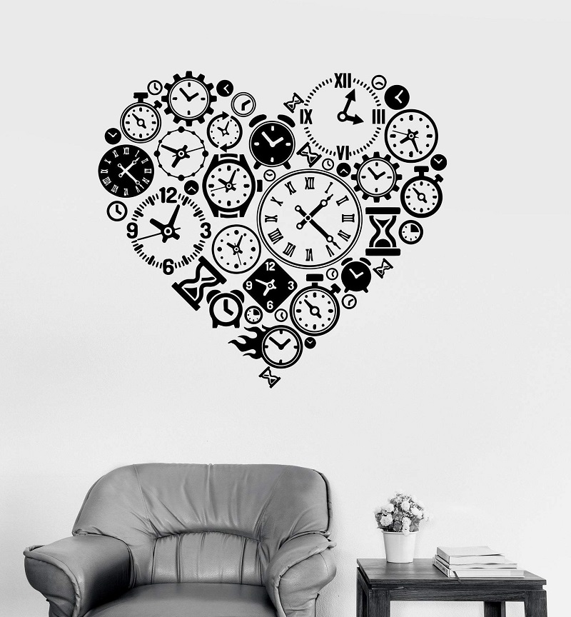 Image 1 - Vinyl Wall Decal Clock Time Love Steampunk Room Watchmaker Art Sticker Study Room Bedroom Home Decor Art Wall Sticker YD15-in Wall Stickers from Home & Garden