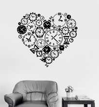 Vinyl Wall Decal Clock Time Love Steampunk Room Watchmaker Art Sticker Study Room Bedroom Home Decor Art Wall Sticker YD15 цена 2017