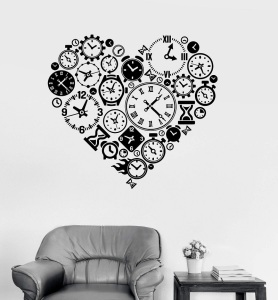 Image 1 - Vinyl Wall Decal Clock Time Love Steampunk Room Watchmaker Art Sticker Study Room Bedroom Home Decor Art Wall Sticker YD15