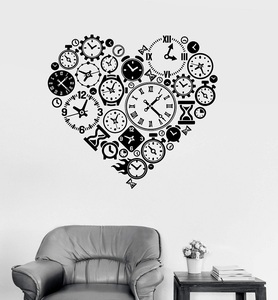 Image 1 - 비닐 벽 전사 시계 시간 사랑 steampunk 방 시계 제조 업체 아트 스티커 스터디 룸 침실 홈 장식 미술 벽 스티커 yd15