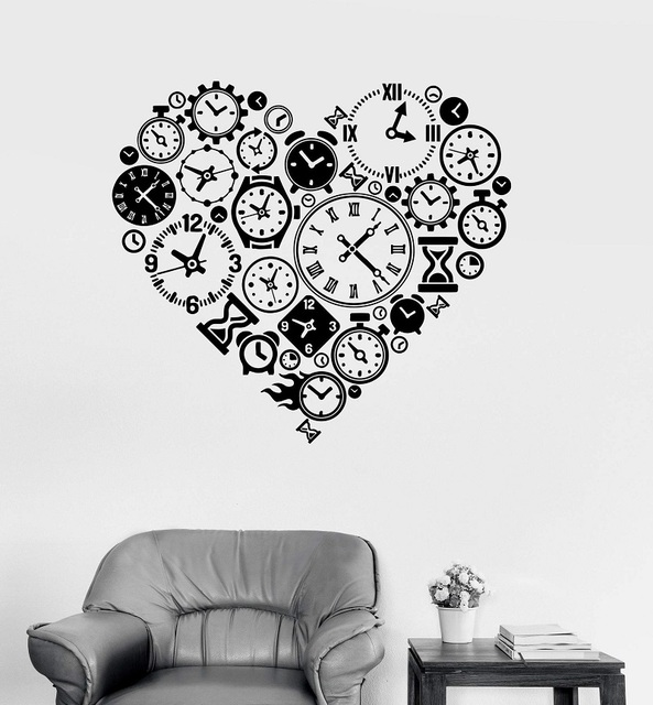 비닐 벽 전사 시계 시간 사랑 steampunk 방 시계 제조 업체 아트 스티커 스터디 룸 침실 홈 장식 미술 벽 스티커 yd15