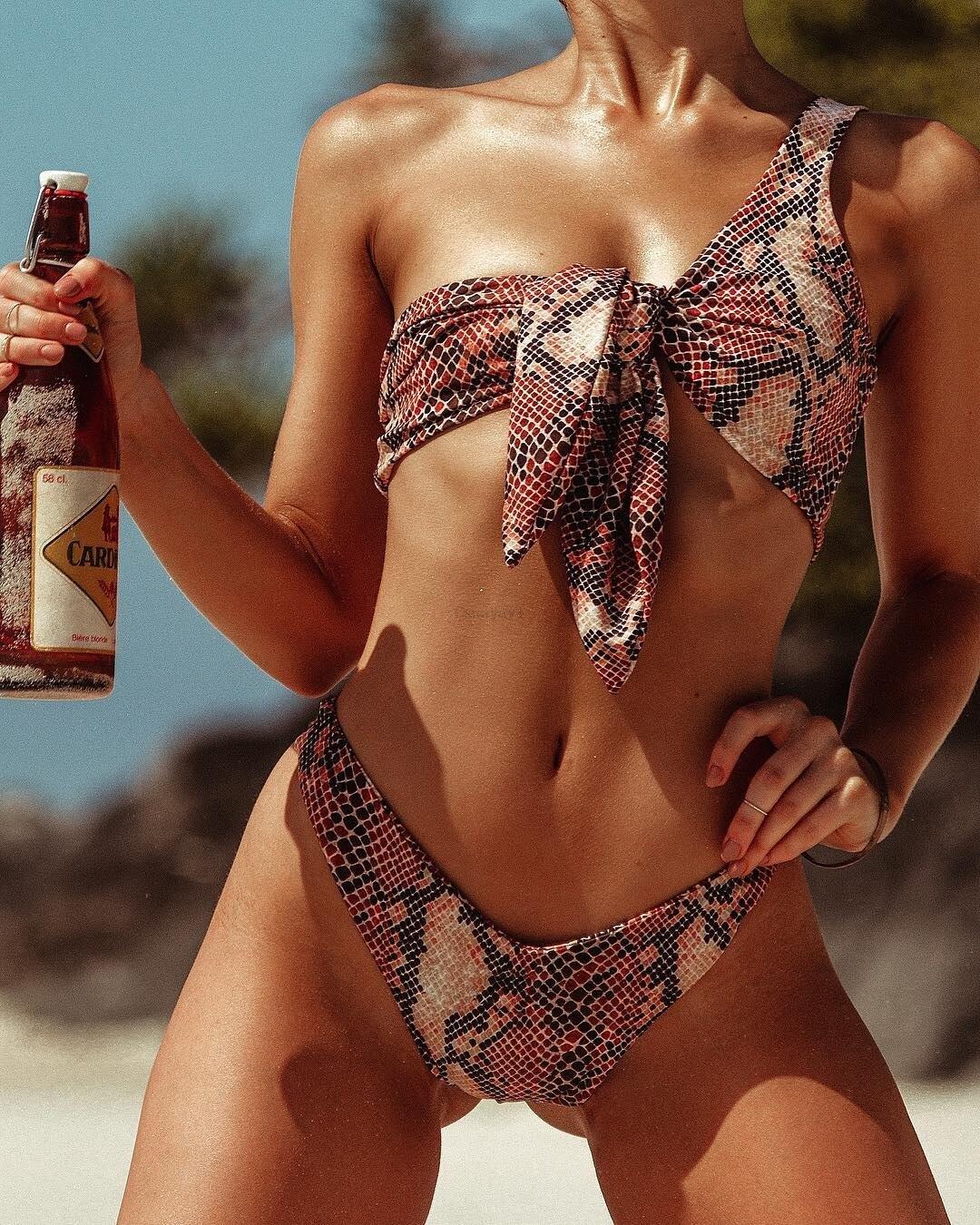 0b9d288d29 New snake print bikinis 2019 sexy one shoulder swimwear bandage bathing suit  maillot de bain femme