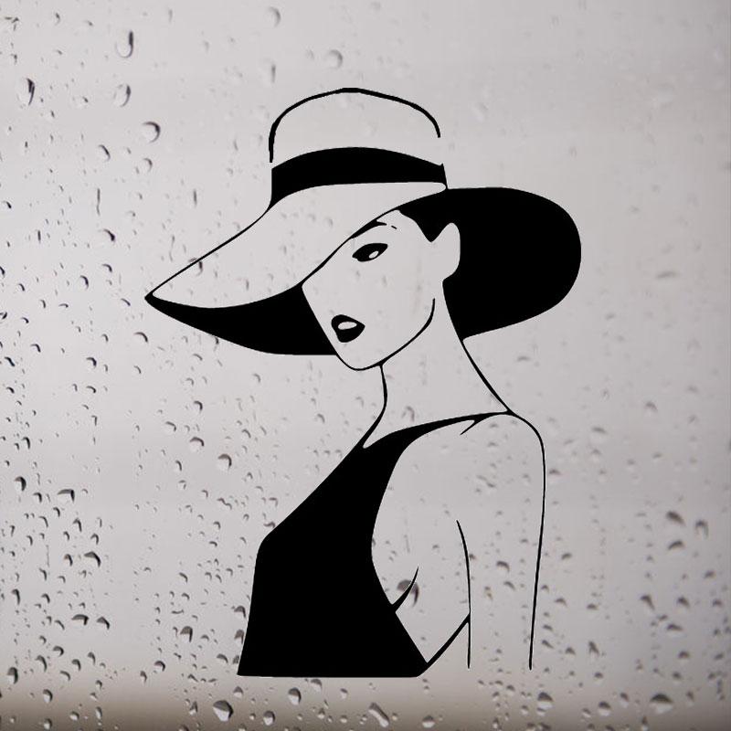Картинки дама в шляпе рисунок