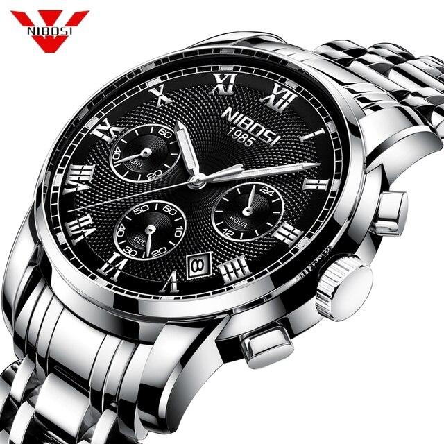 c9c85163a8c4 NIBOSI Relogio Masculino de los hombres la marca lujo relojes fecha  automática cronógrafo cuarzo reloj oro Casual Deporte Militar pulsera