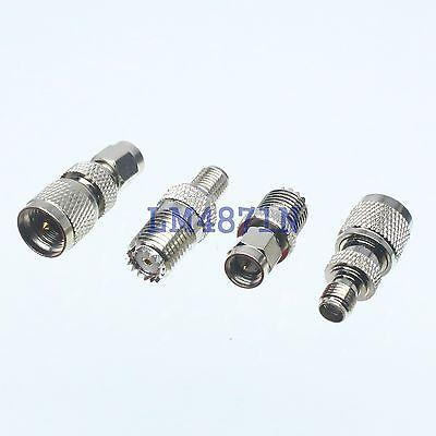 Kit Adapter 4pcs/set mini.UHF to SMA male female RF connector Test converter 4pcs bnc to sma type male female rf connector adapter kit test converter set l057 new