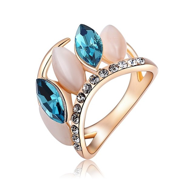 Best Quality Fashion Jewelry Blue Austria Crystal Opal Rings Iotteria Cristallo Wide Tail Ring