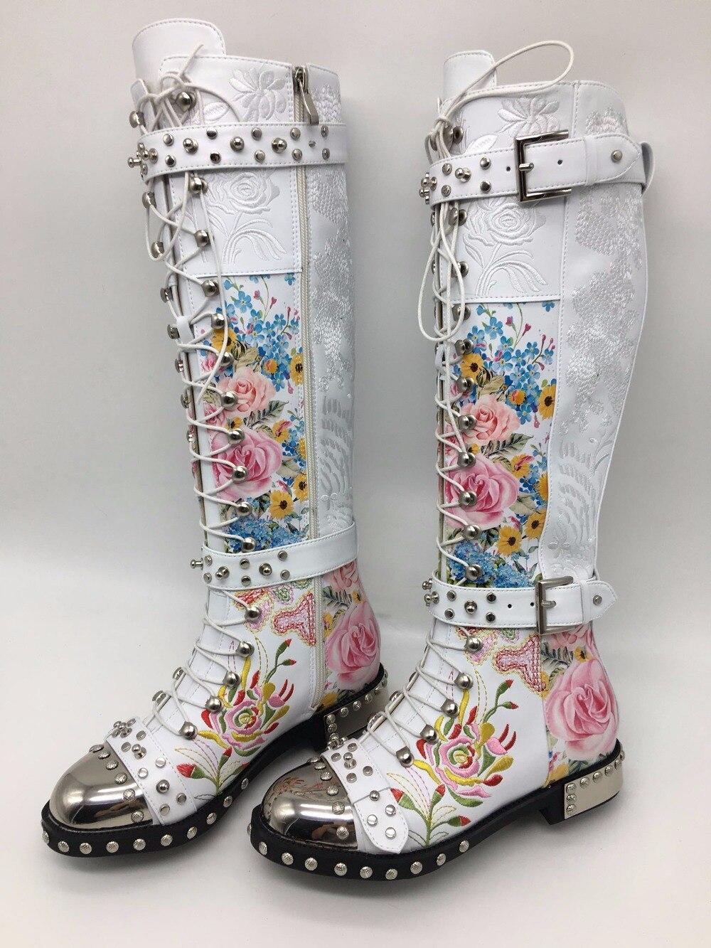 Calidad Flor Matel as Bordado Cuero Zapatos Imprimir As Alta Studder Beertola Cabeza Picture De Mujer Picture Invierno Remaches Botas T8wqpwCY6