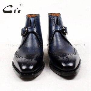 Image 3 - Cie מלא בוהן מרובע נעלי מדליון פטינה כחול 100% עור עגל אמיתי אתחול אתחול אבזם של גברים בעבודת יד גודייר דקות עטר A91