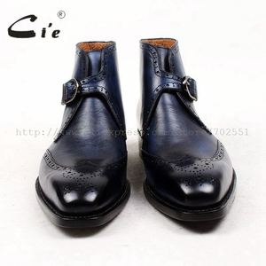Image 3 - cie square toe full brogues medallion patina blue 100%genuine calf leather boot goodyear welted buckle handmade mens boot  A91