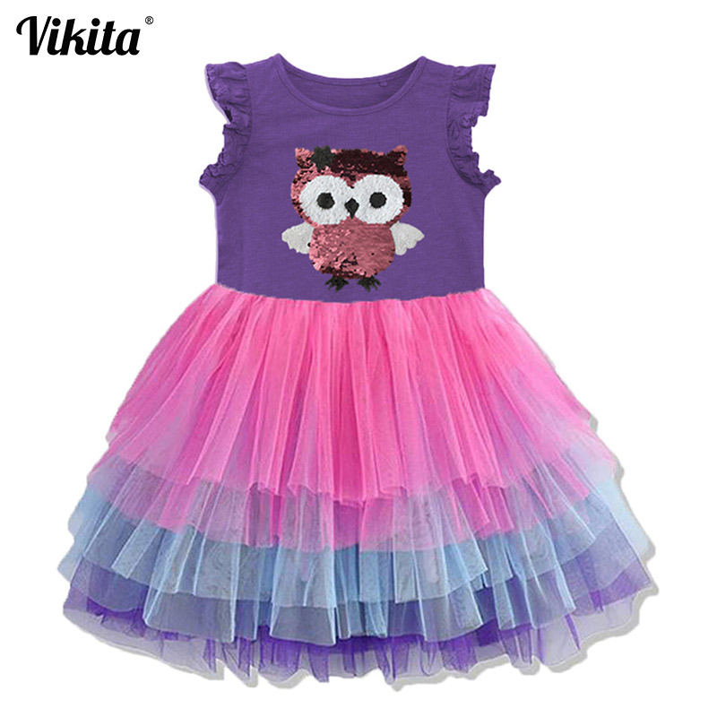 VIKITA Girls Sequins Unicorn Dress Girl Kids Party Wear Dresses For Girls Princess Dress Children Summer Clothes Kids Vestidos