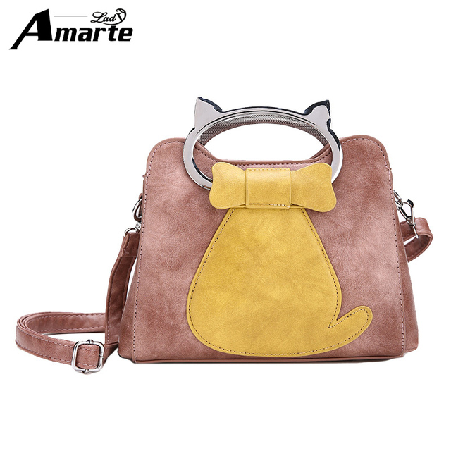 2f2c96d421 Amarte Women Leather Handbags 2017 New Cute Cartoon Cat Shape Women  Shoulder Bags Fashion Casual Totes