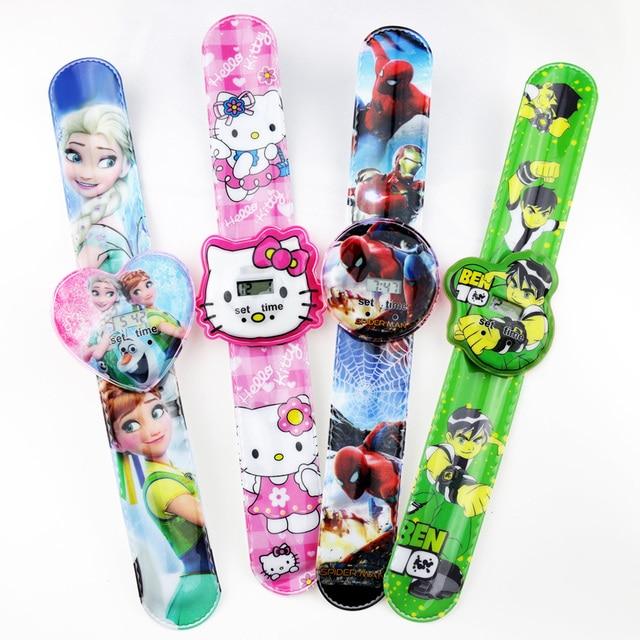 Kitty Children's Watch Cartoon Ben 10 Spider-man Princess Digital Watch Kids Toy Patted Watch Birthday Gift Electronic Clock
