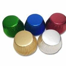 50x ローズゴールド箔紙カップケーキライナーゴールド/シルバー/レッド/ブルー/黒チューリップ純粋な色マフィンカップケーキケースホルダー