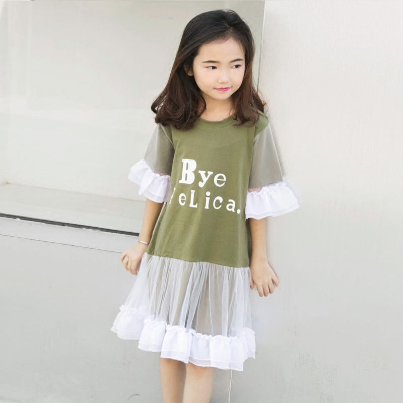 Teen Girls Dresses Lace Patchwork Design Flare Sleeve Fashion Proms for Kids Girls Princess Age 56789 10 11 12 13 14T Years old 2016 summer teen girls boutique frock designs latest fashion dress for kids age 5 6 7 8 9 10 11 12 13 14t years old kids clothes